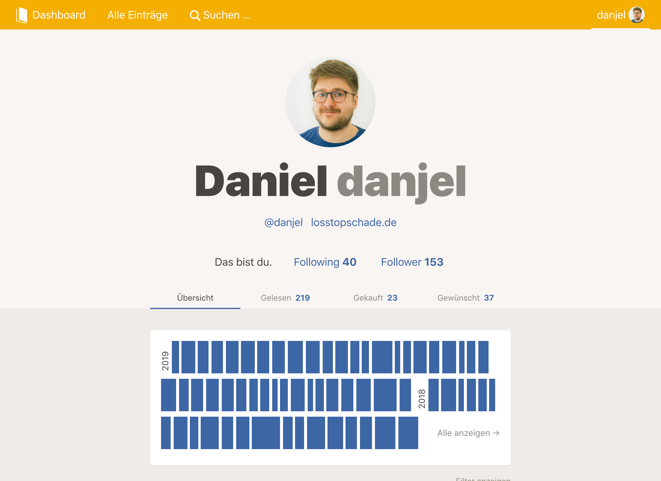 Screenshot: Profil von Daniel